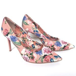 Gianni Bini Floral Heels, Pointed Toe, Mauve Jilly